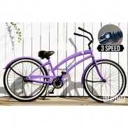 HUNTINGTON BEACH (SkullXbones Purple 3 Speed Cruiser)